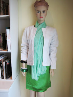 No Sew Scarf, White Denim Box Jacket with Green Satin Shift Dress
