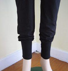 Harem Pants from Baggy or Pajama Pants Using Rib Trim at Bottom