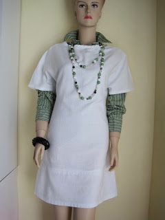Easy White Cotton Shift Dress, Long Length Multi Gem Stone Necklace