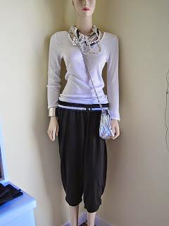 Harem Pants, Statement Necklace and Skinny Belt