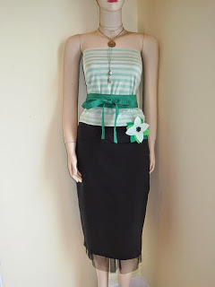 Net Underskirt, OBI Belt, Flower Brooch and Lariat Necklace.