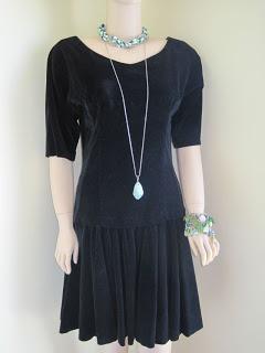 Velvet Vintage Dress, Charm Bracelets and Rope Necklace