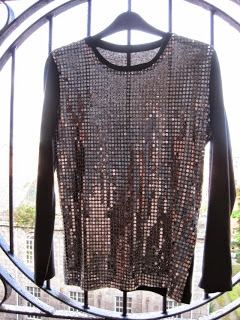 Metallic Sequin Mesh Top