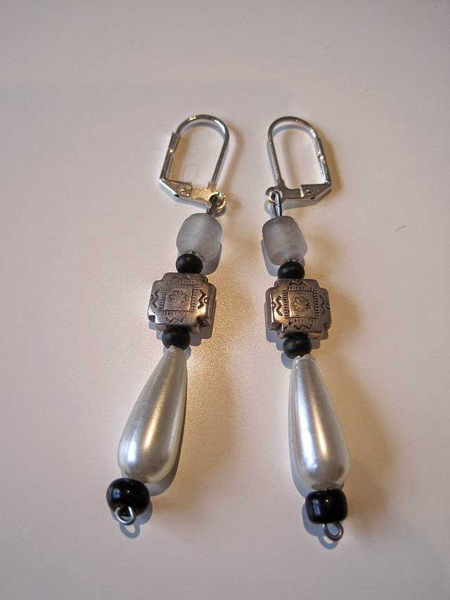 African Silver Bead and Pearl Earrings