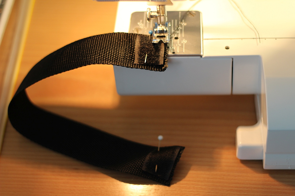 Sew velcro in place