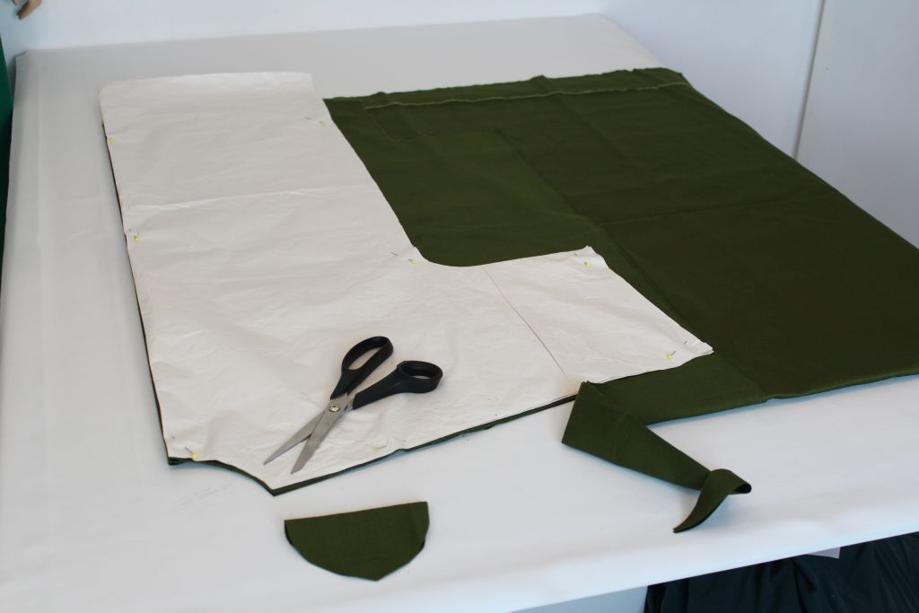 Cut dress from pattern