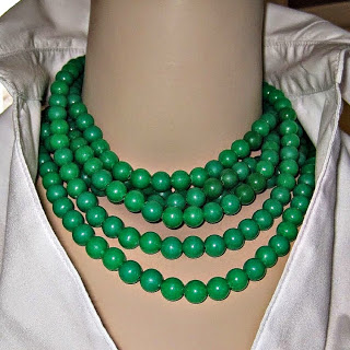 Brightest Green Plastic Beads Wraped Mulitple Times Around Neck