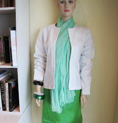 No Sew Scarf, White Denim Box Jacket with Green Satin Shift Dress