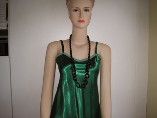 Green Satin Camisole Top with Black Plastic Clip together Necklace