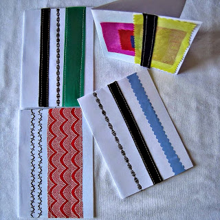 Greeting Cards from Fabric Scraps with Fancy Stitching