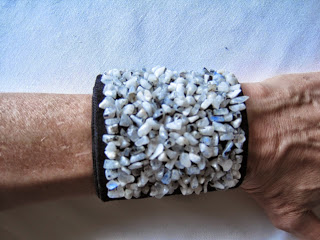 Wrist Cuff Embroidered with Moonstone Chips