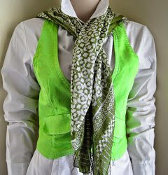 White Waistcoat Dyed Lime Green