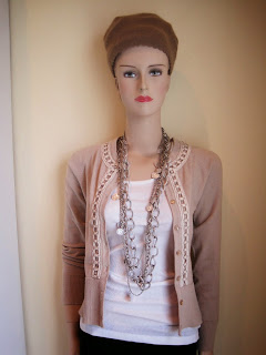 Brocade Trim to a Cardigan, Multi Layer Chains