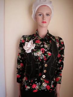 Vintage Floral Shirt with Rose Corsage