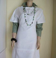 Easy White Cotton Shift Dress, Long Length Multi Gem Stone Necklace