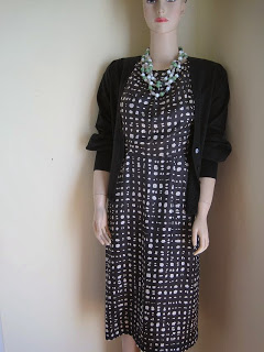Vintage Dress with Cardi and Stone Necklace