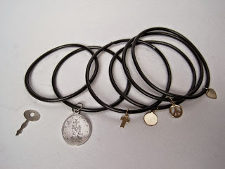 Rubber O Ring Bracelets with Charms