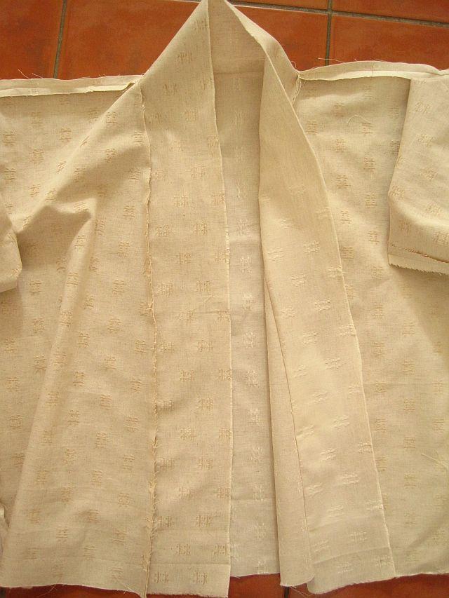 Pin and sew collar to Kimono jacket