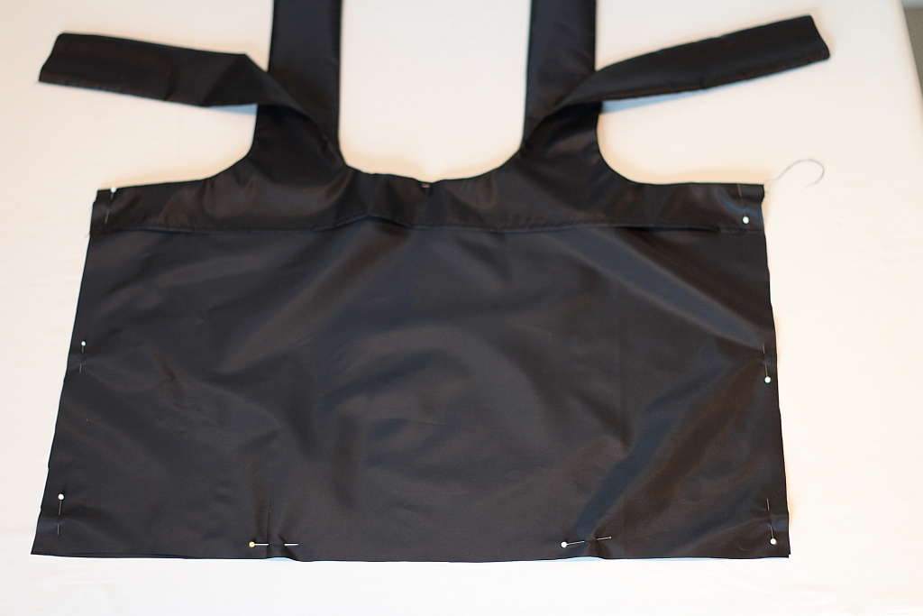 Sew sides and lower bag together