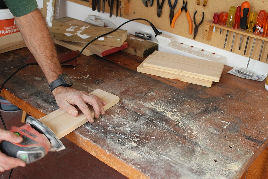 Sanding the boards