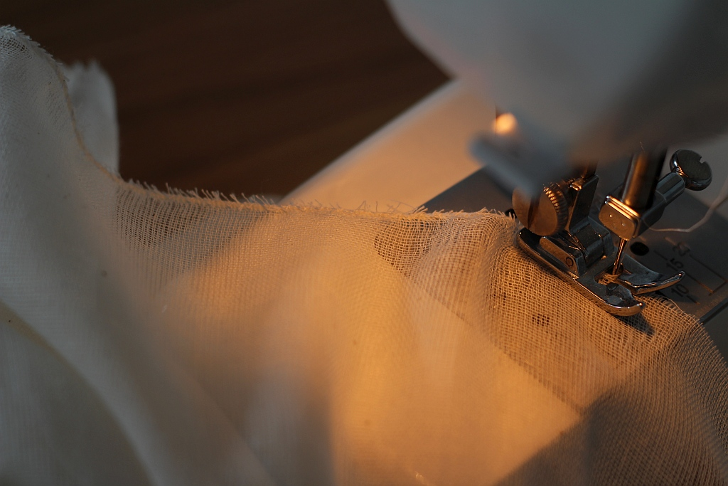Sew edges that have been cut