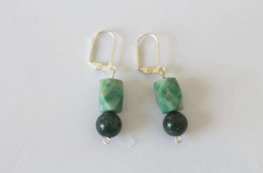 Stone & Silver Earrings