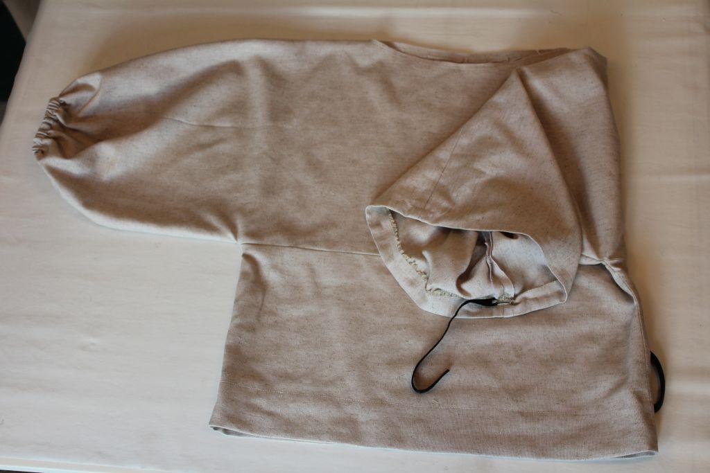 Hem bottom of top and sleeves. Add elastic.