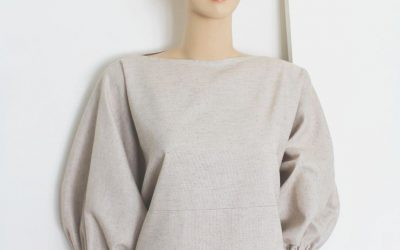 Linen Balloon Sleeve Top